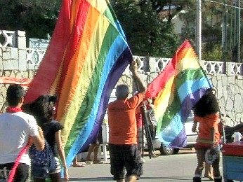 Parada Gay. (Foto: TV Verdes Mares/Reprodução)
