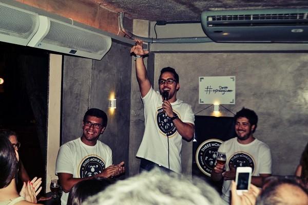 Felipe Oliveira, Léo Gil e Bernardo Costa e Silva no lançamento da marca, em 2013