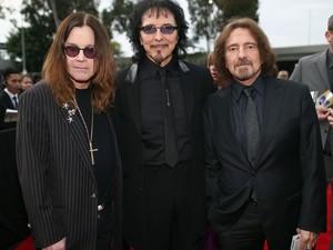 Ozzy Osbourne, Tony Iommi e Geezer Butler, do Black Sabbath. A banda foi indicada ao Grammy nas categorias 'Melhor performance de metal', 'Melhor canção de rock' e 'Melhor disco de rock' (Foto: Christopher Polk/Getty Images for NARAS/AFP)