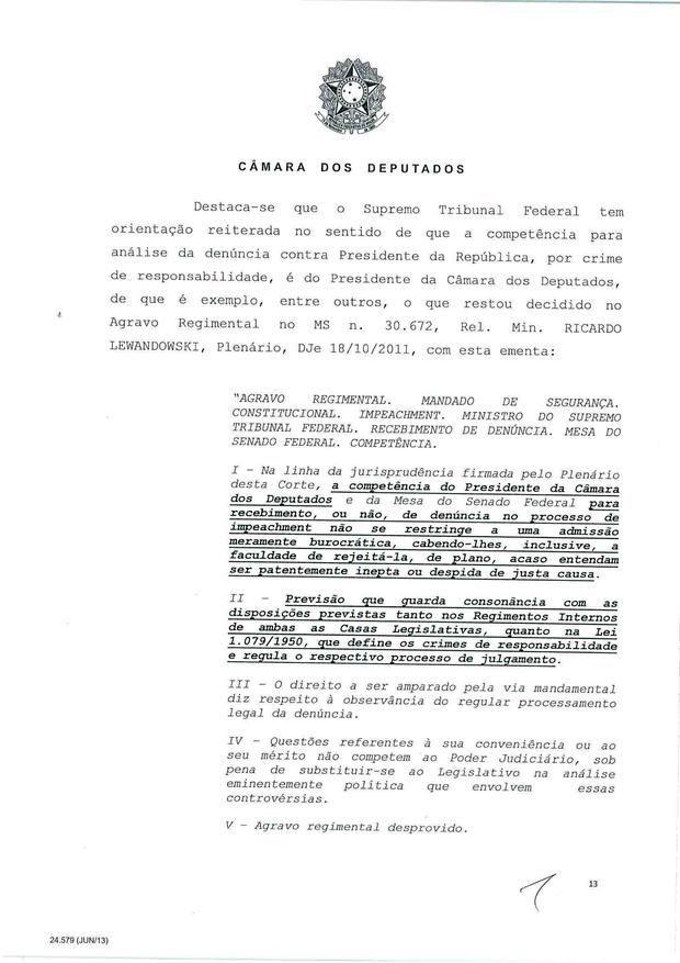 13 - Leia íntegra da decisão de Cunha que abriu processo de impeachment (Foto: Reprodução)