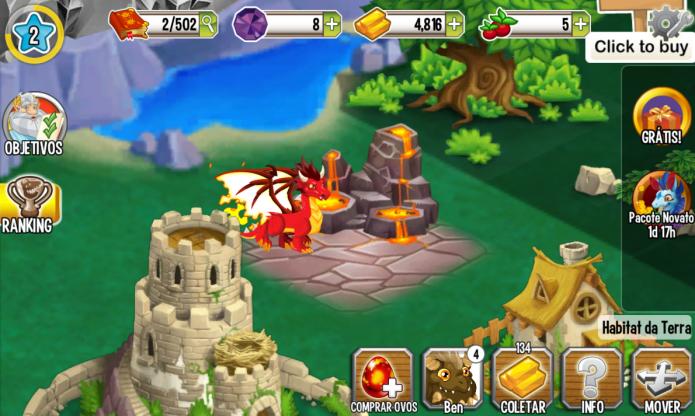 Dragon City: evolua seus habitats para que mais dragões possam produzir ouro para você (Foto: Reprodução/Paulo Vasconcellos)