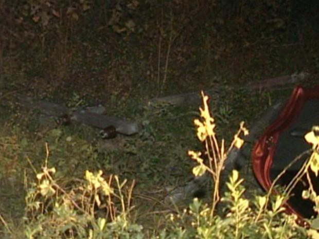 Poste caiu em área de pasto, ao lado da estrada, e chegou a provocar um incêndio (Foto: Reprodução/TV Gazeta Norte)