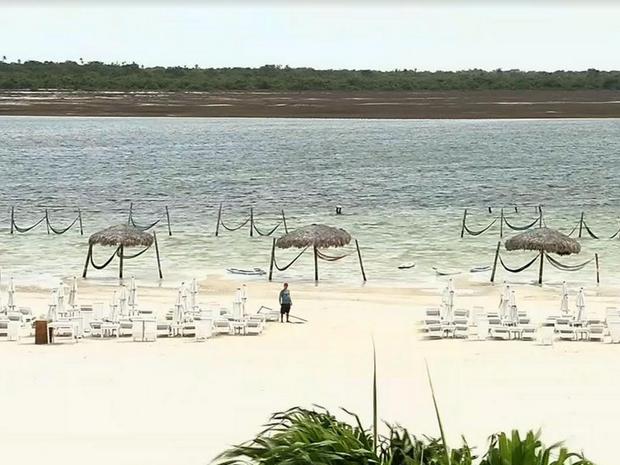 Lagoa do Paraíso, Lagoa Azul, e outras lagoas da região estão secando. (Foto: Reprodução/TV Verdes Mares)