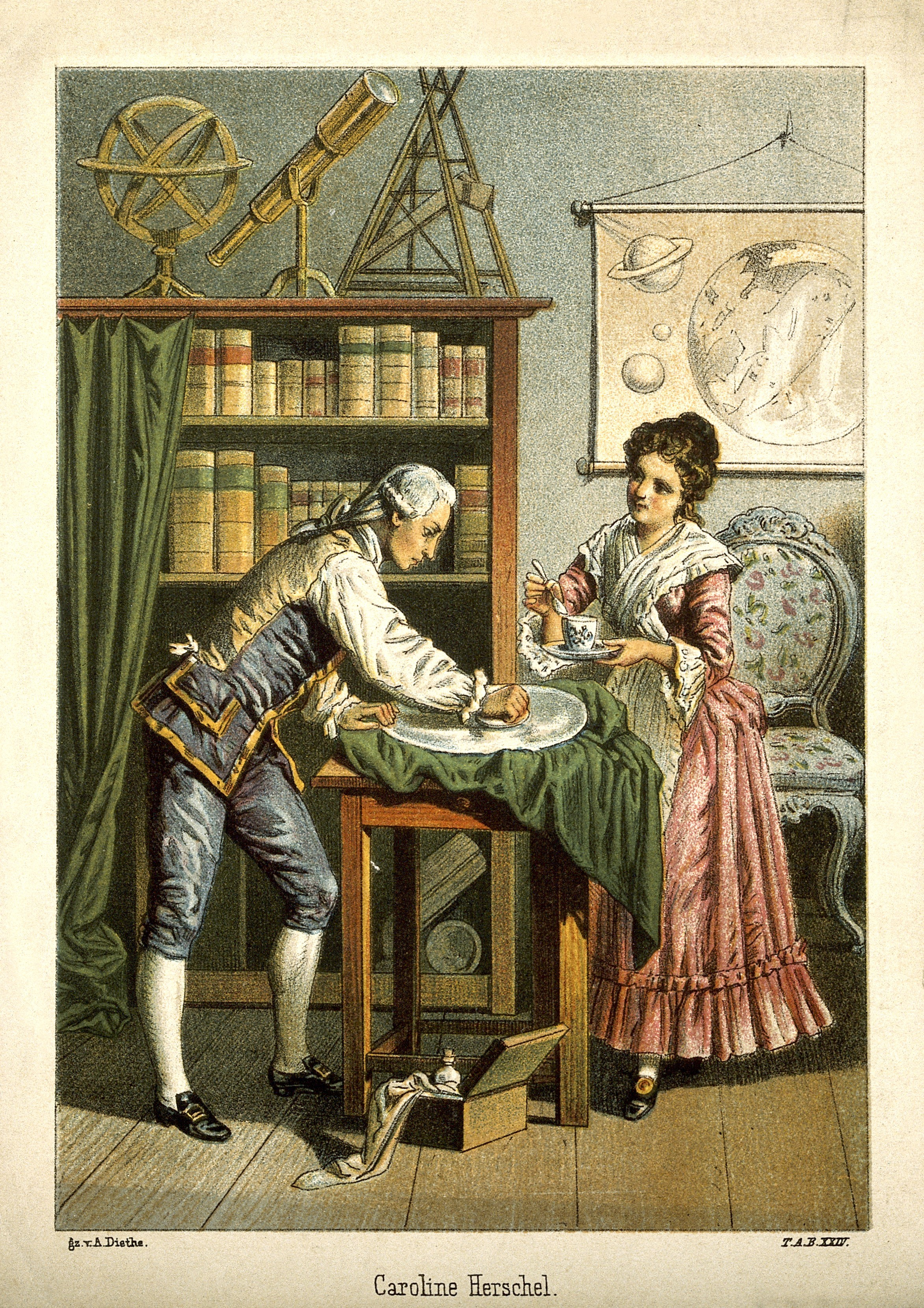 Ilustração de William e Caroline trabalhando juntos (Foto: Wikimedia)