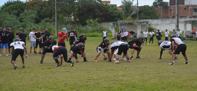 Espectros, João Pessoa Espectros, treino, futebol americano (Foto: Amauri Aquino / GloboEsporte.com/pb)