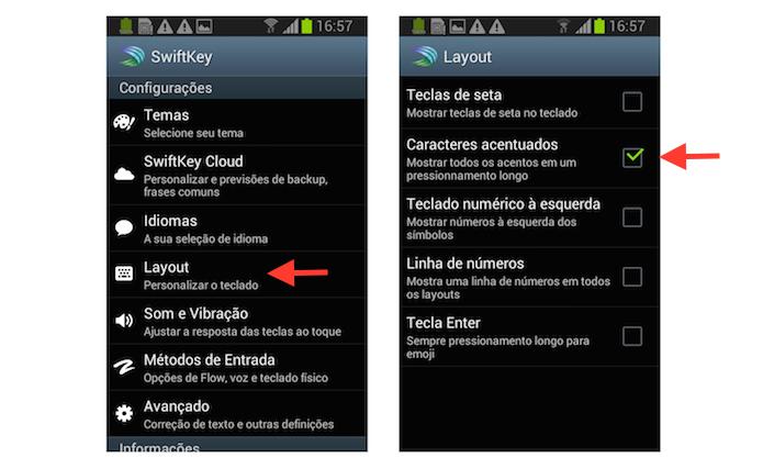 Ativando os caracteres acentuados do SwiftKey no Android (Foto: Reprodução/Marvin Costa)
