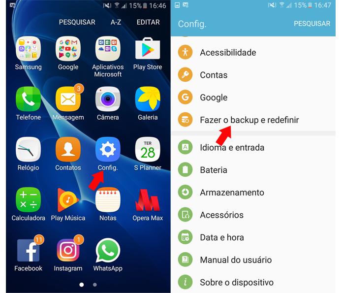 """Acesse as configurações do Android e toque sobre """"Fazer o backup e redefinir"""" (Foto: Reprodução/Ana Marques)"""