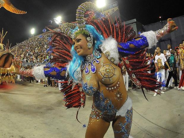 Musa do corpo pintado usou tapa-sexo de 3 centímetros (Foto: Alexandre Durão / G1)