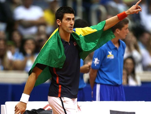 Tênis Djokovic e Guga exibição ginásio do Maracanãzinho (Foto: Agência EFE)
