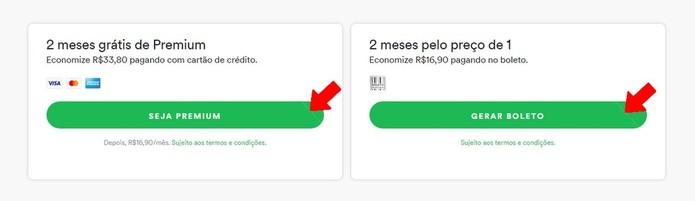 Escolha o plano pago que deseja no Spotify (Foto: Reprodução/Rodrigo Fernandes)