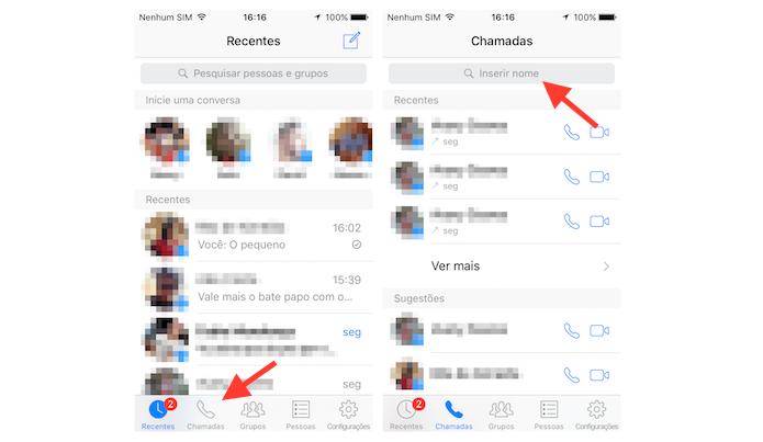Acessando a página de chamadas do Facebook Messenger para iPhone (Foto: Reprodução/Marvin Costa)