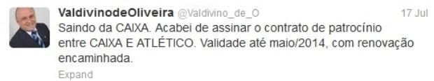Valdivino de Oliveira sela contrato de patrocínio com a Caixa Econômica Federal (Foto: Reprodução/Twitter)
