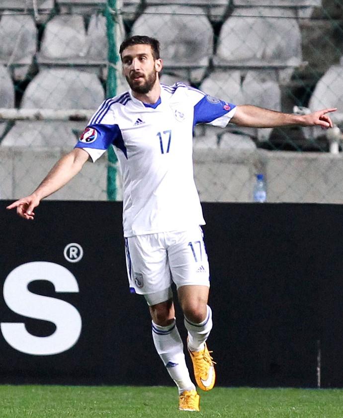 Efrem comemora gol do Chipre contra Andorra (Foto: Agência AFP)