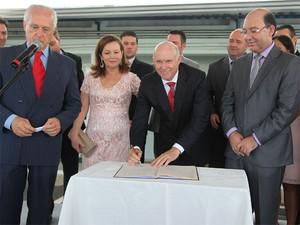 Cerimônia de posse do prefeito eleito Milton Serafim em Vinhedo (Foto: Karina Folegatti/ Divulgação)