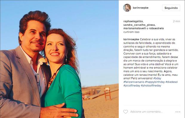 Edson Celulari e Karin Roepke  (Foto: Reprodução/Instagram)
