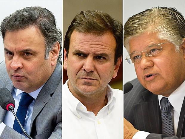 O senador Aécio Neves, o prefeito do Rio, Eduardo Paes e Clésio Andrade (Foto:  Foto: Fernando Frazão, Marcelo Camargo e José Cruz/Agência Brasil)