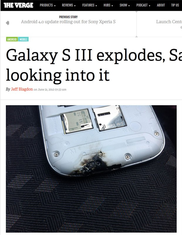 Usu&#225;rio afirma que Galaxy S III pegou fogo e explodiu (Foto: Reprodu&#231;&#227;o)