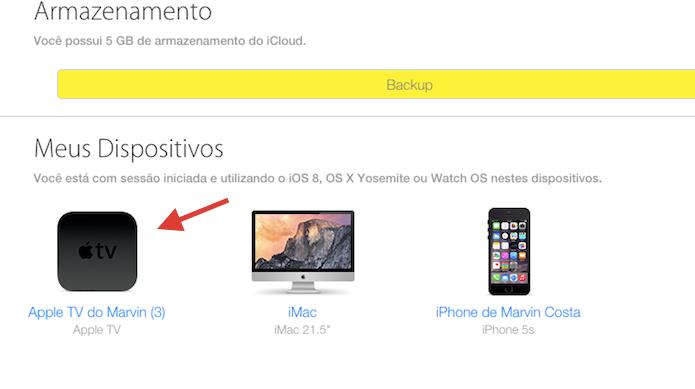 Acessando a descrição de um dispositivo conectado a uma conta do iCloud (Foto: Reprodução/Marvin Costa)