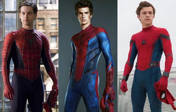 Tobey Maguire em Homem-Aranha (2002), Andrew Garfield em O Espetacular Homem-Aranha (2012), Tom Holland em Homem-Aranha: De Volta ao Lar (2017) (Foto: Divulgação)