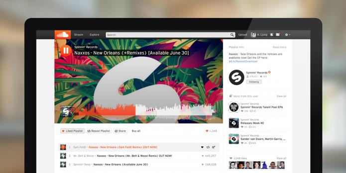 SoundCloud coloca mais informações no mesmo lugar, no centro da tela (Foto: Divulgação/SoundCloud)