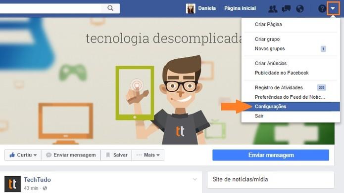 Menu configurações no Facebook