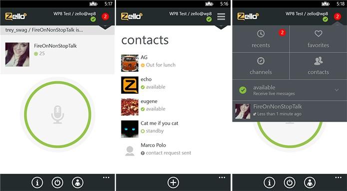 Zello é um app walkie-talkie para o Windows Phone que permite o envio de mensagens de voz (Foto: Divulgação/Windows Phone Store)