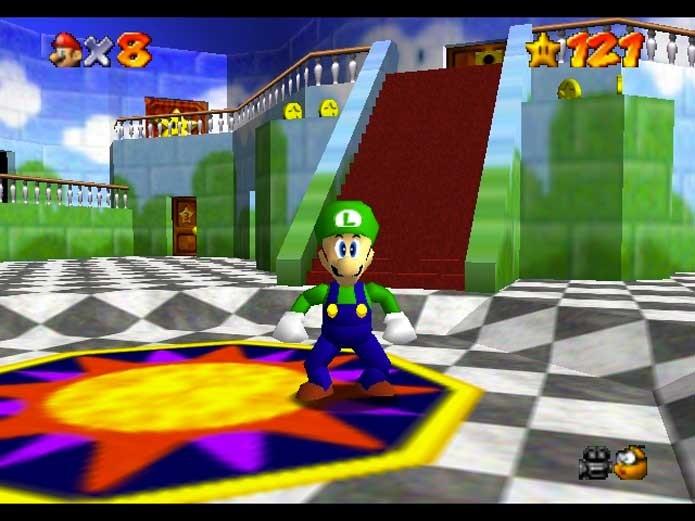 Luigi em Mario 64 do Nintendo 64? Só mesmo em montagem (Foto: Reprodução/Felipe Vinha)