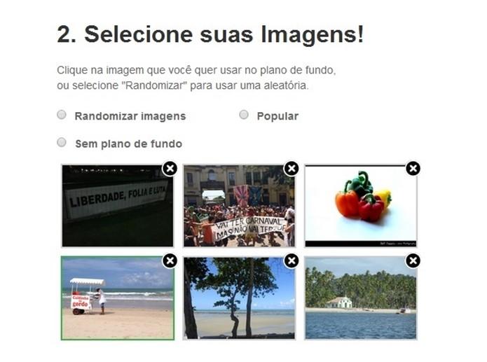 Seleção de imagem que ficará como plano de fundo do Google (Foto: Reprodução/Raquel Freire)