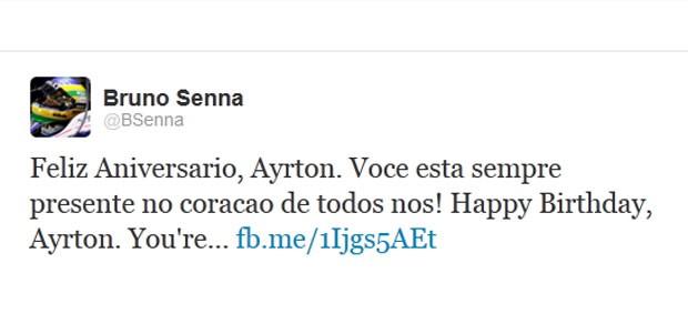 Bruno Senna twitter aniversário Ayrton (Foto: Reprodução / Twitter)