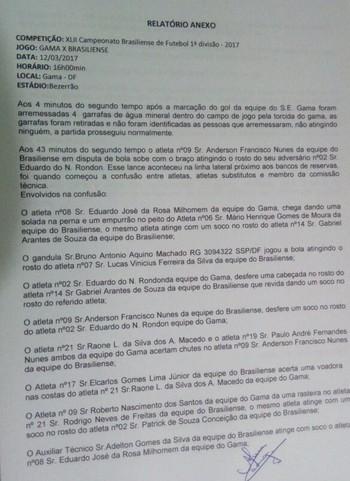 Súmula do jogo entre Gama e Brasiliense cita detalhes da briga em campo (Foto: Reprodução)