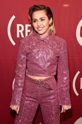 Miley Cyrus em evento em Nova York, nos Estados Unidos (Foto: Dave Kotinsky/ Getty Images/ AFP)