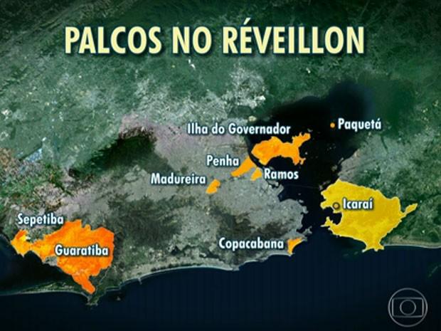 Mapa das festas de Réveillon gratuitas na Região Metropolitana do Rio (Foto: Reprodução/TV Globo)
