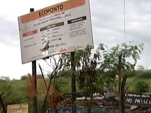 Ecoponto fechados em Uberaba (Foto: Reprodução/TV Integração)