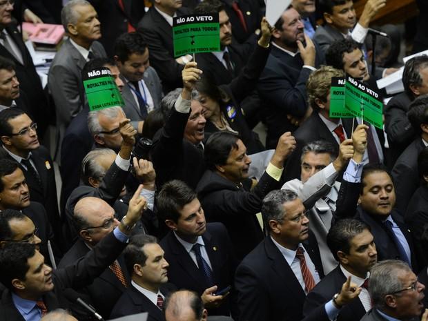 Bancadas do RJ e ES protestam contra veto à Lei dos Royalties no Congresso (Foto: Agência Brasil)