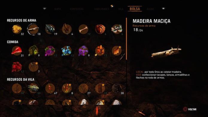Far Cry Primal: acesse a aba Bolsa para conhecer os seus recursos armazenados  (Foto: Reprodução/Victor Teixeira)