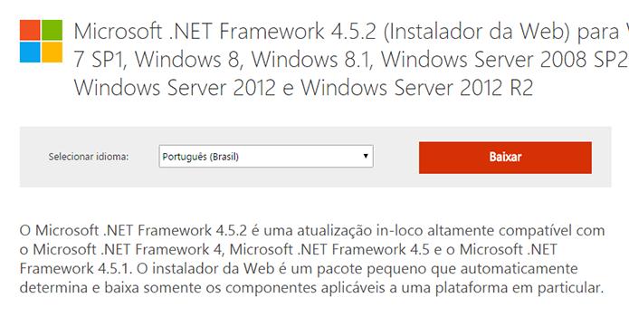 Baixe o .NET mais recente (Foto: Reprodução/Paulo Alves)