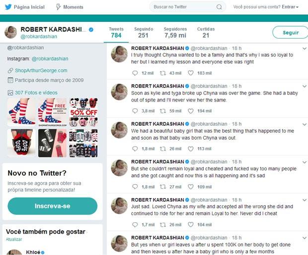 Rob Kardashian segue com os ataques a Blac Chyna pelo Twitter (Foto: Reprodução)