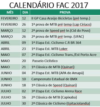 Calendário 2017 FAC parte I (Foto: Divulgação/FAC)