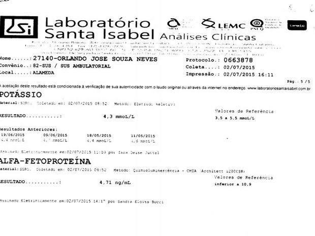 Exame de Orlando Neves em julho deste ano (Foto: Reprodução)