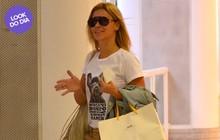 Look do dia: Carolina Dieckmann viaja com camiseta irreverente