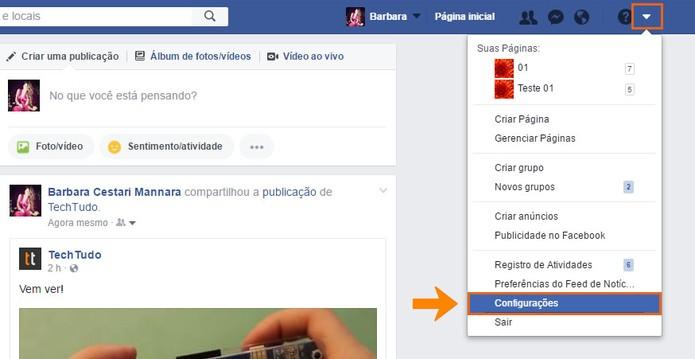 Acesse as configurações do Facebook pelo PC (Foto: Reprodução/Barbara Mannara)