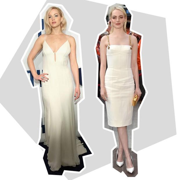 Branco: Jennifer Lawrence + Emma Stone (Foto: Reprodução e Getty)