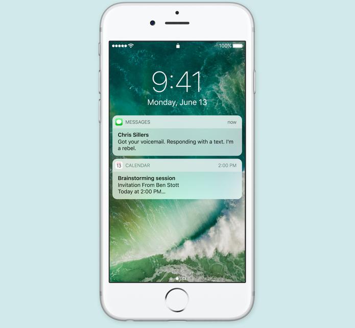 iOS 10 terá tela de bloqueio com notificações maiores e interativas (Foto: Reprodução/Apple)
