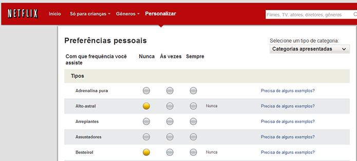 Ao preencher as preferências, o usuário permite ao Netflix sugerir conteúdos mais adequados (Foto: Reprodução/Netflix)