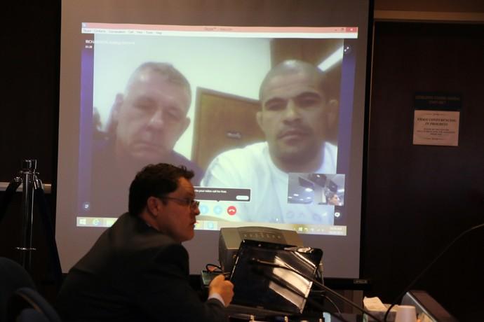 Rousimar Toquinho e Alex Davis em vídeoconferência na NAC (Foto: Evelyn Rodrigues)