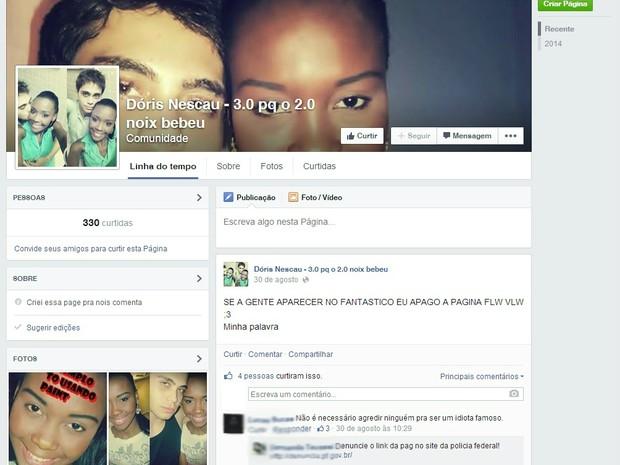 Página contendo denúncias ao casal ainda está no ar (Foto: Reprodução/Facebook)