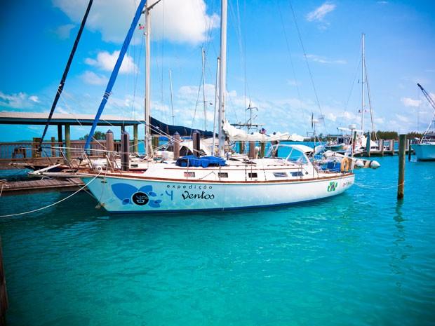 """O veleiro da """"Expedição 4 Ventos"""", que vai partir nesta terça-feira (25) dos EUA rumo a Cuba. O projeto deve durar ao menos dois anos (Foto: Divulgação)"""