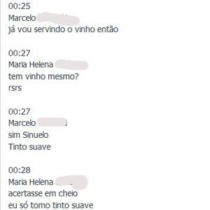 Trecho da conversa entre estudante catarinense e professor que virou hit na web devido ao vinho Sinuelo; os nomes foram removidos para preservar a privacidade dos dois (Foto: Reprodução/Facebook.com)