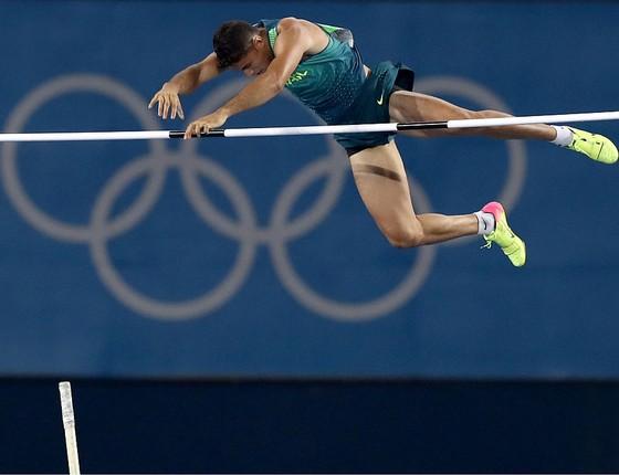 Thiago Braz, no Engenhão. O brasileiro ganhou o ouro olímpico no salto com vara na Rio-2016 (Foto: Getty Images)