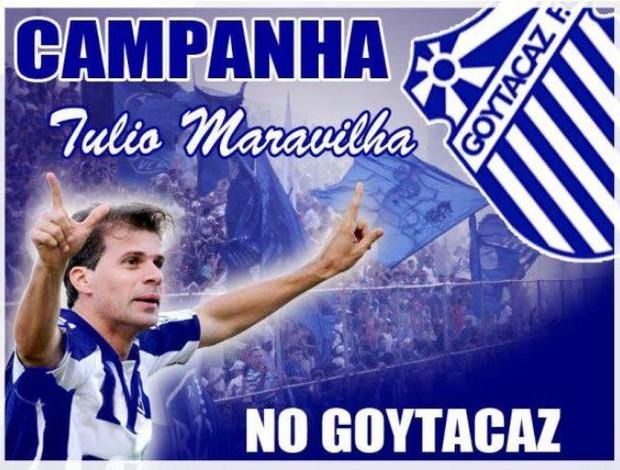 Torcida do Goytacaz faz campanha nas redes sociais para ter Túlio Maravilha (Foto: Reprodução Facebook)